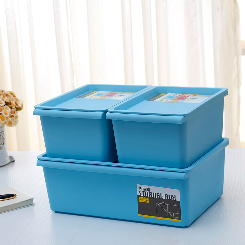 Colorful thick plastic storage box with lid snack debris sorting box cosmetic underwear storage box storage box