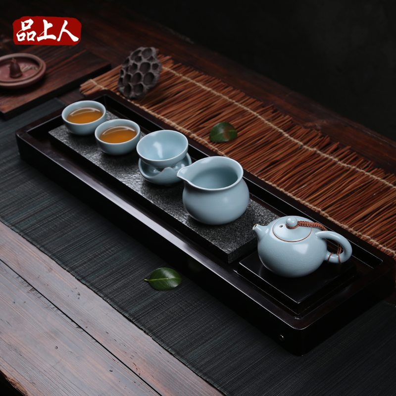 Commodities master ru ebony black stone tea tray kung fu tea set wood entire drainage style tea sea
