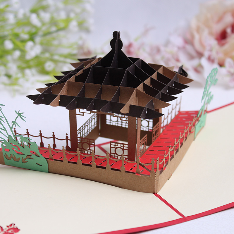 Commodities ni dimensional greeting cards chinese ethnic style pavilion suzhou gardens holiday greeting cards handmade paper sculpture