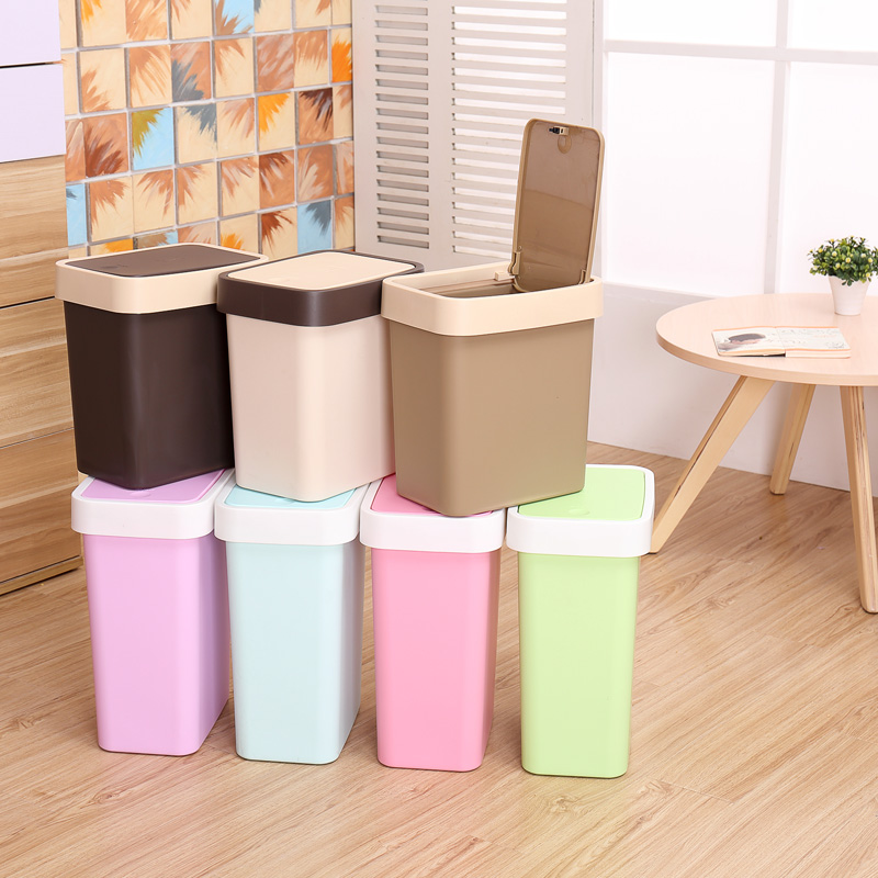Concord creative household kitchen living room bathroom trash can with lid large box covered plastic trash barrel dustbin