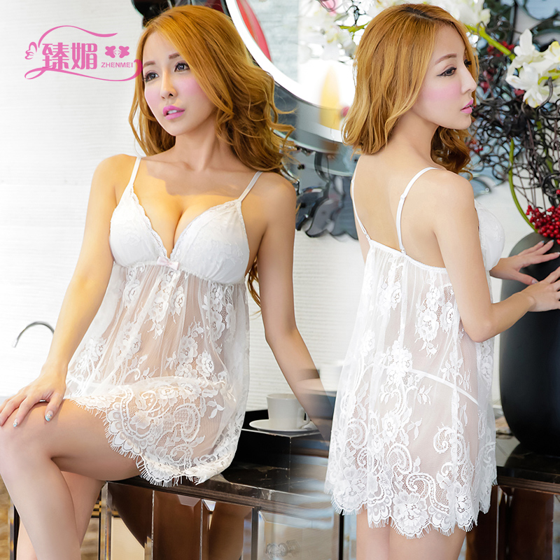Contains adult sexy lingerie chest a transparent lace v-neck sling lingerie women's pajamas suit sao acb