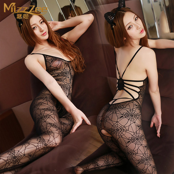 Contains adult sexy lingerie open crotch perspective sexy backless jumpsuit nightspots system suits socks black stockings female sao 8552