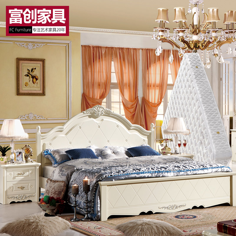 Continental furniture bed 1.5 m double bedroom furniture suite combination europe three sets of bed + bedside cabinet + mattress