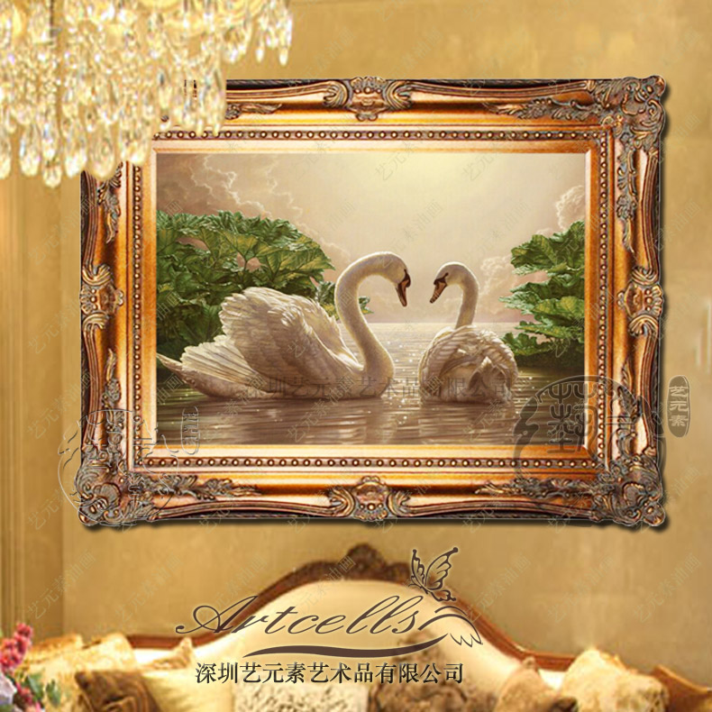 Continental pure hand painted home decor living room dining landscape painting swan lake entrance framed painting the bedroom YGH016