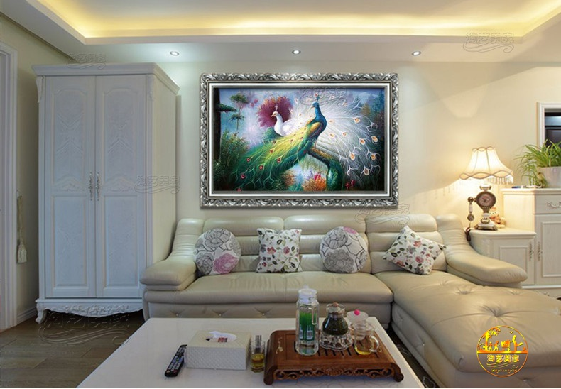 Continental pure hand painted oil painting decorative painting modern living room entrance framed paintings peacock villa lying room KQ2237