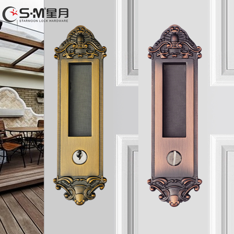 Get Quotations · Continental Shift Door Lock Golden Antique Copper Kitchen  Bathroom Balcony Sliding Door Lock Hook Sliding Door