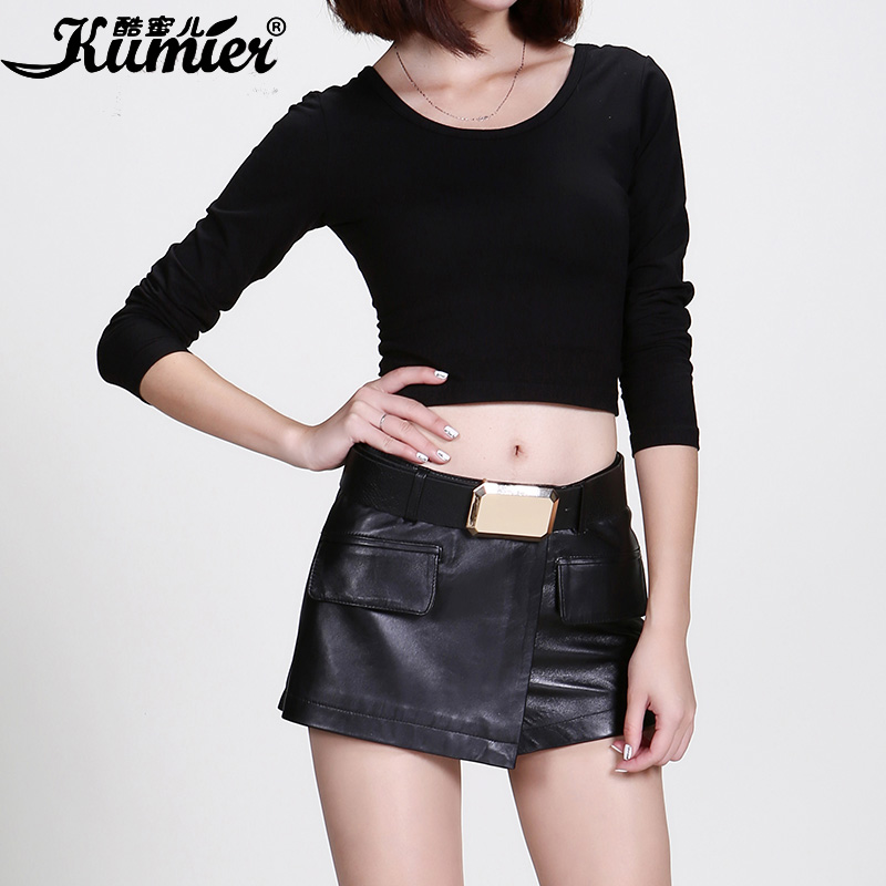 Cool claudel leather shorts female 2015 new winter leather sheep phi leather was thin leather pants shorts culottes