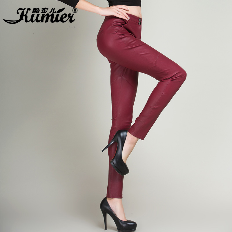 Cool claudel new skinny thin elastic leather pants leather pants female 2015 haining sheep skin leather pants feet