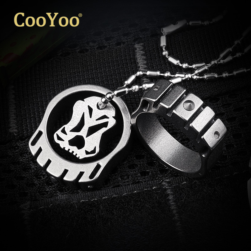 Cool friends cooyoo cool ring ring titanium necklace gaseous tritium light tungsten steel head defense survival tool