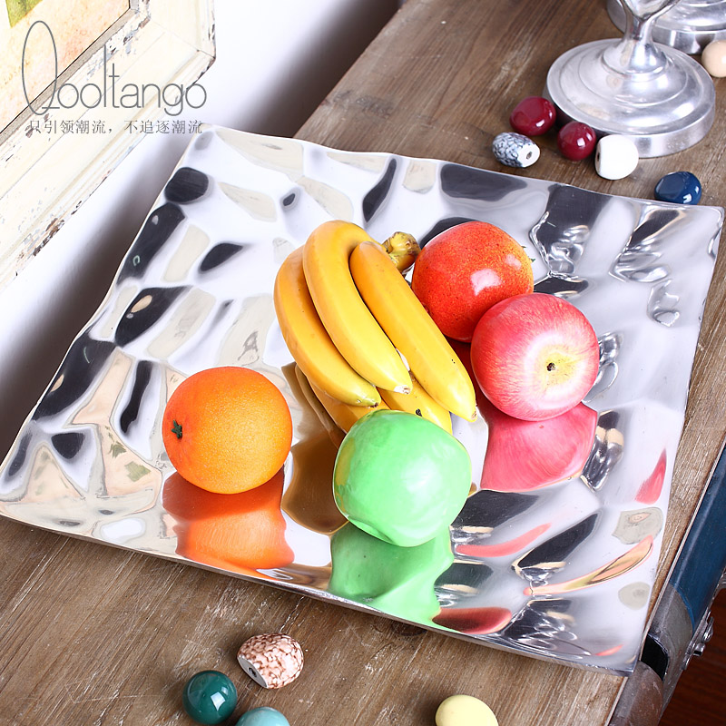 Cool tange india imported modern minimalist fashion alloy plate fruit bowl candy dish home decoration crafts