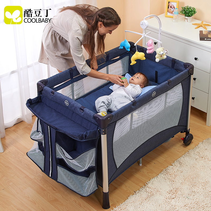 Coolbaby multifunction folding portable crib playpen bb cradle baby bed children's bed continental
