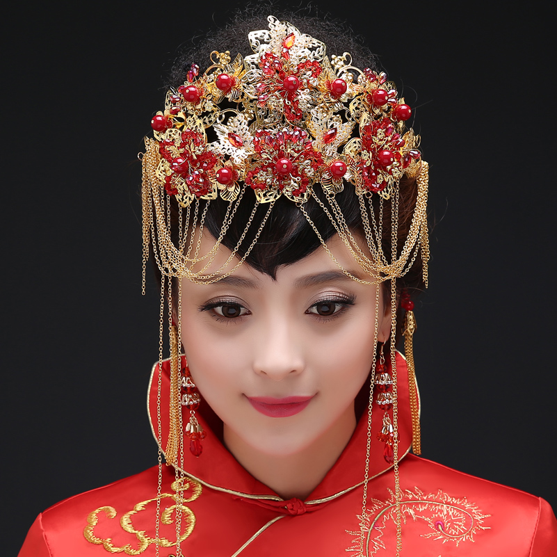 Coronet costume headdress bride xiu tassel frontlet chinese red pearl wedding tiara comb hairpin
