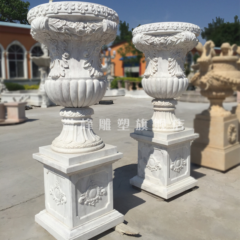 [Cosmos] natural marble stone pots quyang sculpture beautifully carved stone flower potted flower pot crafts
