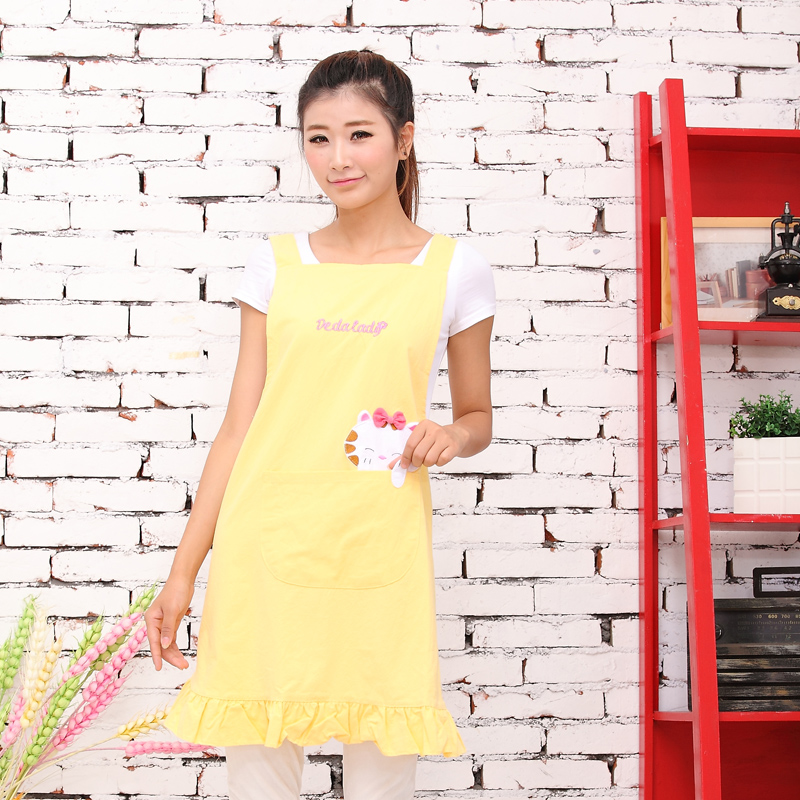 Cotton cute cartoon korean fashion baby shop staff kindergarten teacher overalls nail shop apron shipping