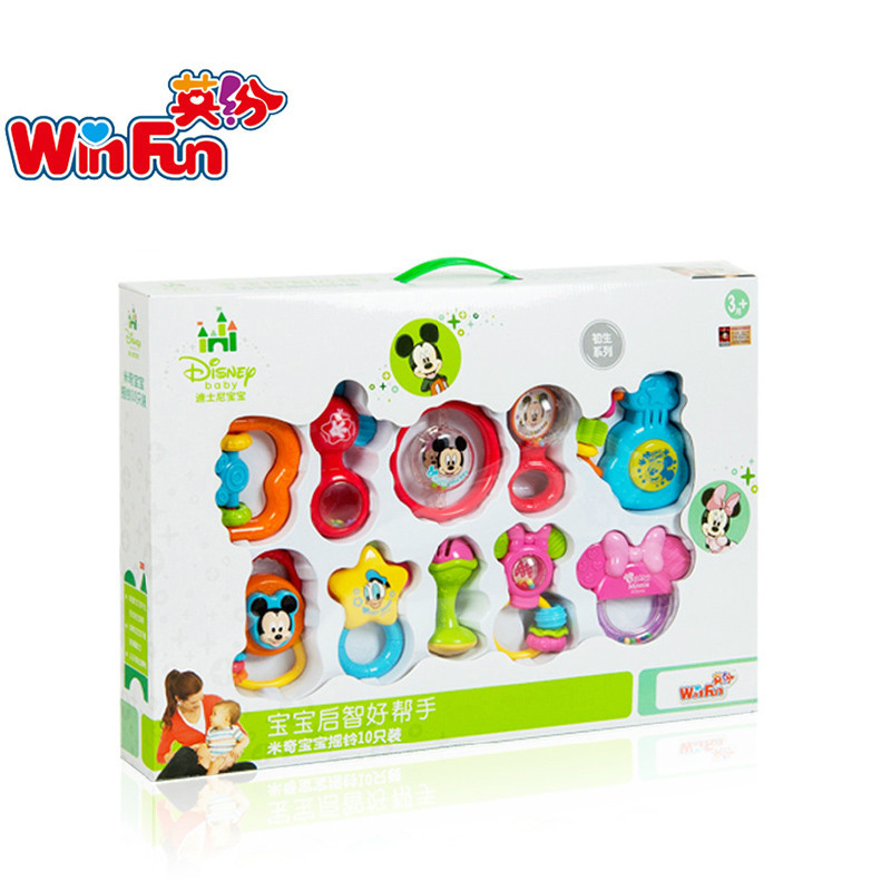 Counter genuine english fun disney baby toys gift 0-1-year-old yi ji newborn infant baby teether rattles early childhood