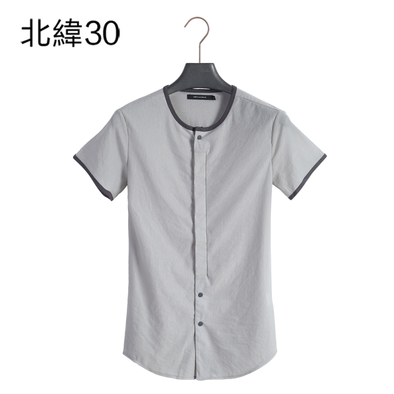 [Counter] with the money 30 n 2016 summer new european and american male personality round neck short shirt tide