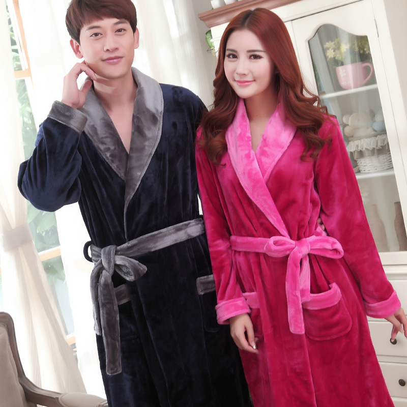 9be63c697e Get Quotations · Couple autumn and winter coral fleece bathrobe robe  bathrobe longer sleeved thick flannel pajamas for men