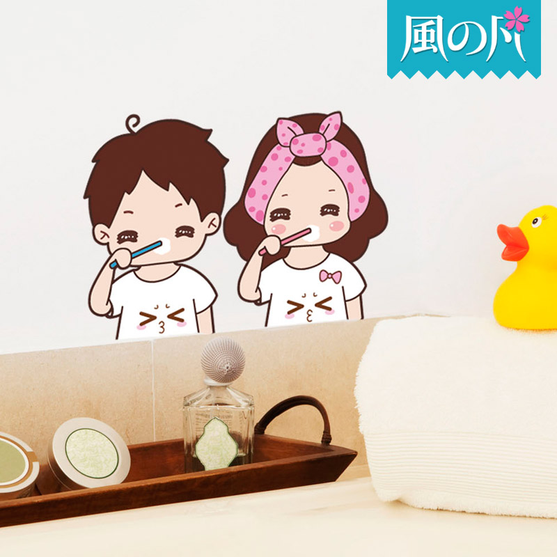 Couple brushing the wall wallpaper wall stickers removable wall stickers bathroom toilet waterproof decorative mirror stickers