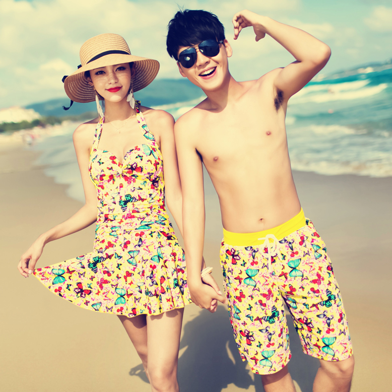 Couple female swimsuit 2016 new south korean conservative swimsuit cover the belly was thin spa beach lovers beach pants men