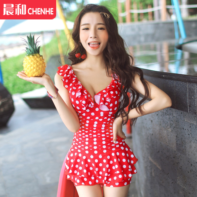 Couple female swimsuit korean small chest big chest steel prop gather polka dot hot springs siamese boxer swimsuit skirt pants sets