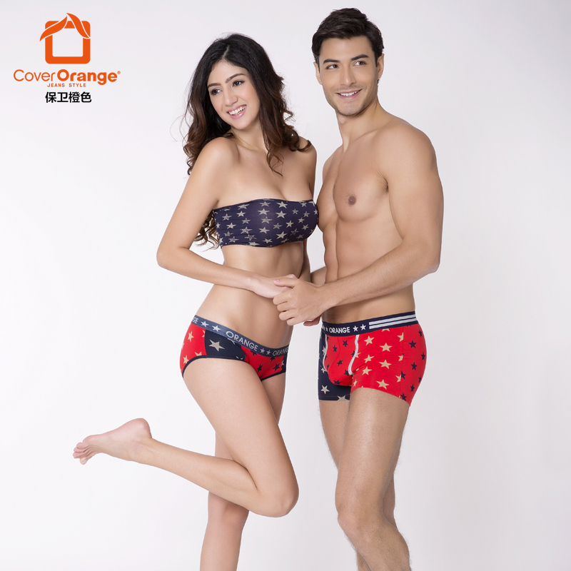 Cover orange/defend orange free shipping men and women couple cute sexy underwear modal cotton boxer shorts pants