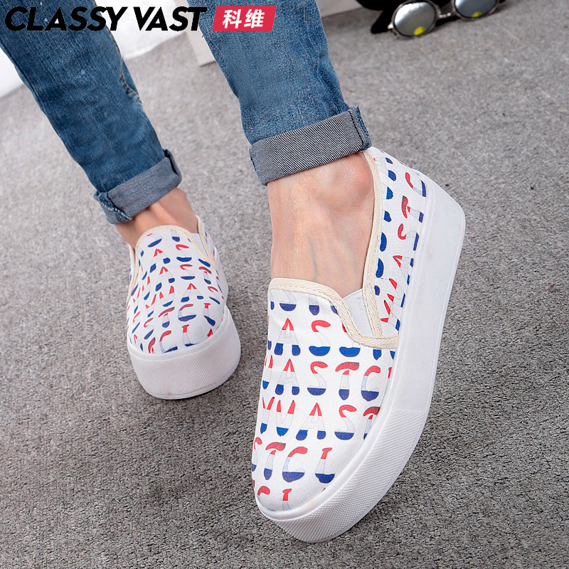 Covey classyvastå°ä¹ç¦in summer and autumn plaid canvas shoes women shoes lazy thick crust muffin white shoes casual shoes