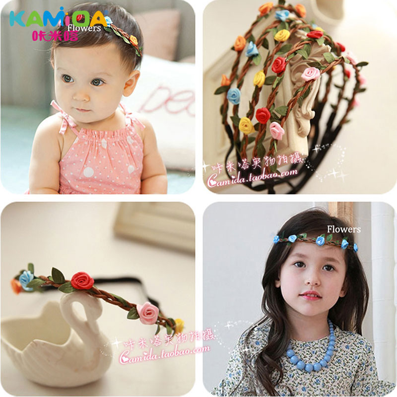 Cracking meters despair kamida rattan flower hair band baby hair band headdress hair accessories for girls head ornaments infants and young children