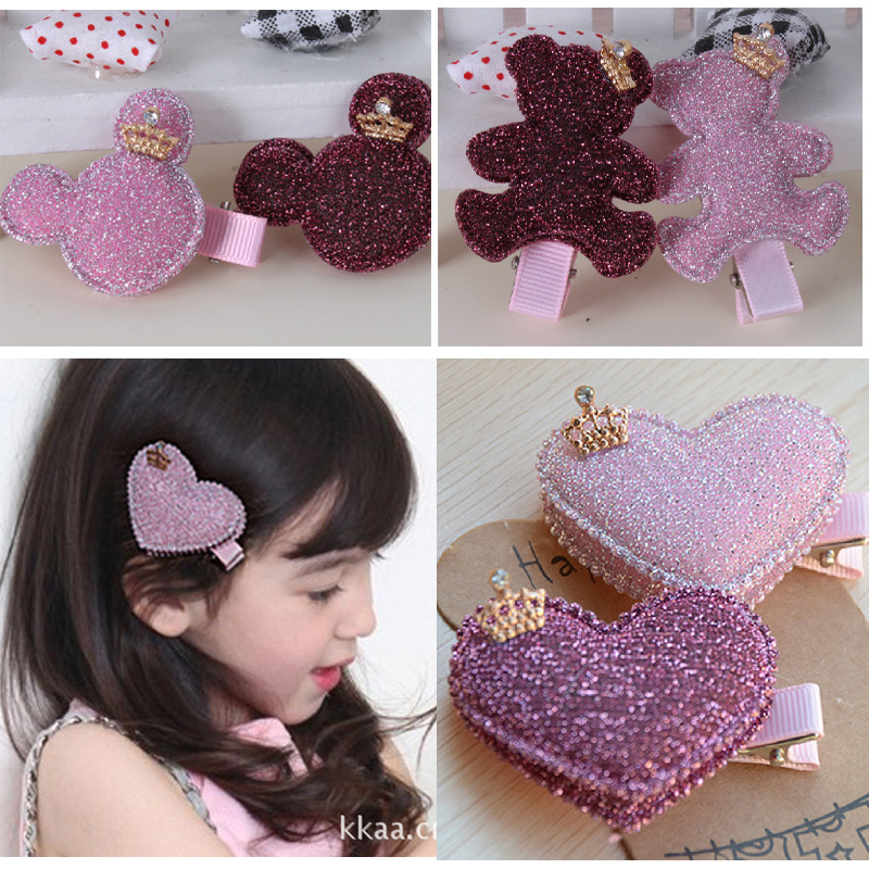 Cracking meters despair korean children headdress hair accessories with jewelry baby girls fabric double card side clip hairpin shape