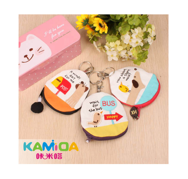 Cracking meters despair korean cute fabric korean version of the key bag canvas bag lady hand bag female cartoon