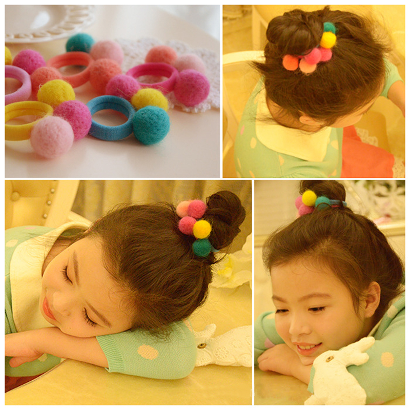 Cracking meters despair korean korean children hair accessories three balls of wool felt hair ring hair rope tendons leather baby girls head ornaments
