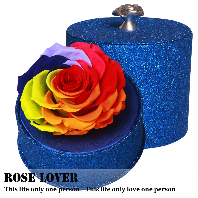 Creative birthday gift colorful flower preservation preserved flower roses sent his girlfriend a gift bluelover