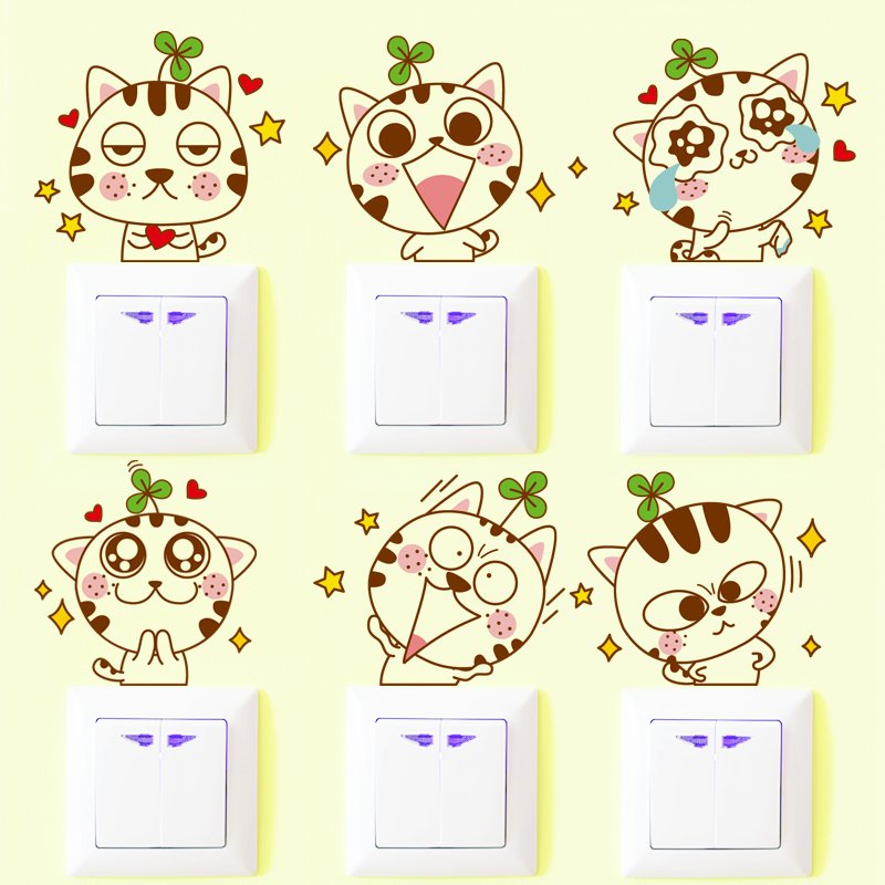Creative cartoon cute cat animal switch stickers socket wall stickers children's room bedroom decorative stickers affixed stickers