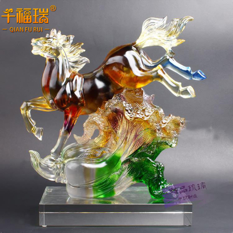 Creative crystal glass office den living room tv cabinet lucky horse ornaments decoration wedding gift to send to friends