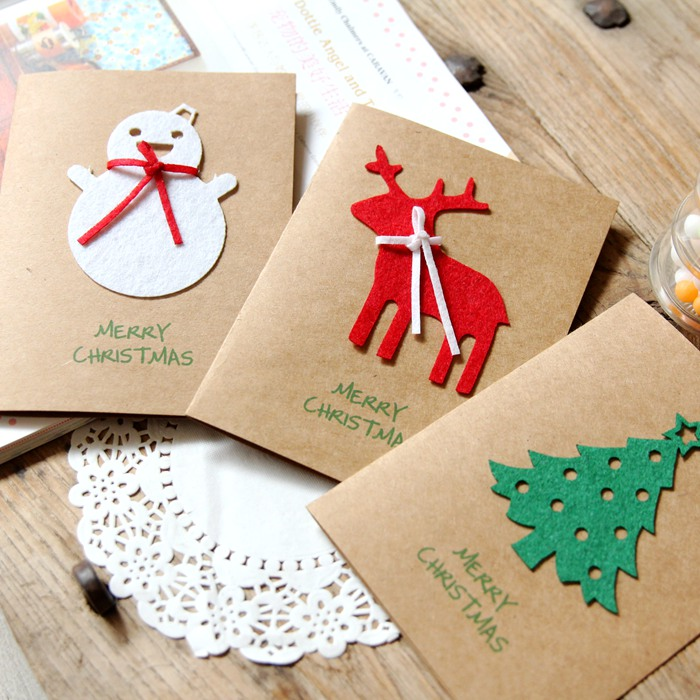Creative cute cartoon deer santa claus snowman pine kraft christmas holiday greeting card gift cards