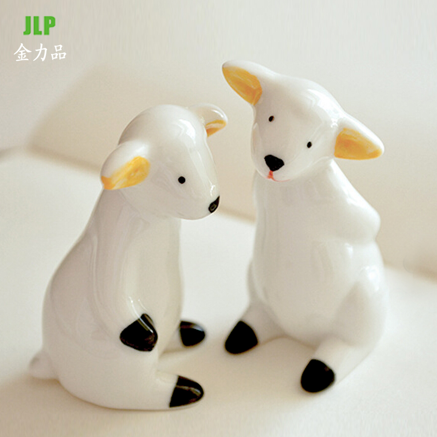 Creative fashion home decor furnishings ceramic crafts ornaments new home living room ornaments two lambs