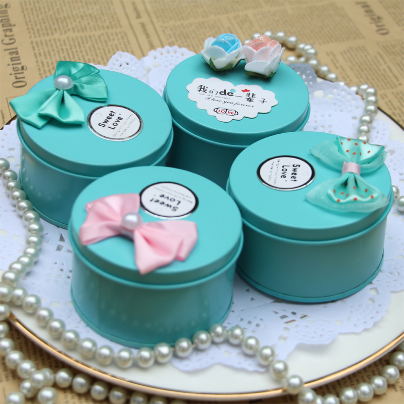 Creative heart love round blue tin candy box wedding candy box wedding candy box candy box wedding supplies