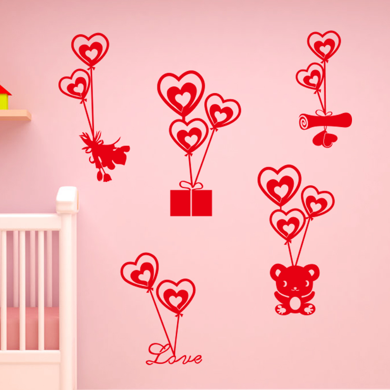 Creative home sofa bed bedroom wall florist shop door stickers wall stickers love valentine's day gift of love balloons
