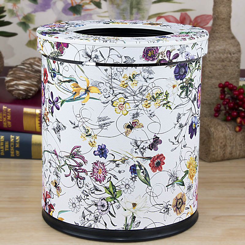 Creative household trash continental hotel with a large double layer of leather trash barrel without cover toilet living room free shipping