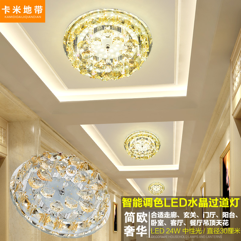 Creative led crystal ceiling spotlights intelligent camminanti strip toning circular foyer lights aisle lights porch lights go gallery