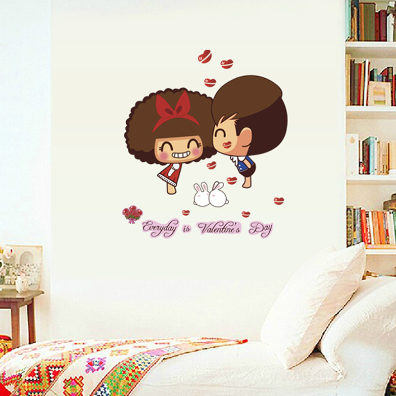 Creative life cute cartoon character stickers waterproof removable wall stickers bedroom dorm room decorative stickers stickers