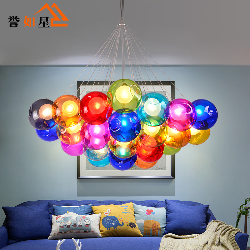 Creative living room chandelier restaurant children's room chandelier color bubble glass ball chandelier glass ball ball ball ball ball double cover