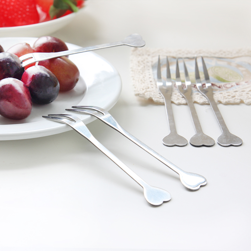Creative love stainless steel fruit fork fashion fruit dessert signed fork fruit fork cake dessert fork stir bar