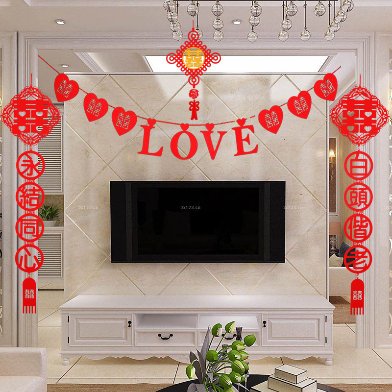Creative wedding supplies nonwovens hi word chinese wedding room decoration garland party garland garland of love free shipping