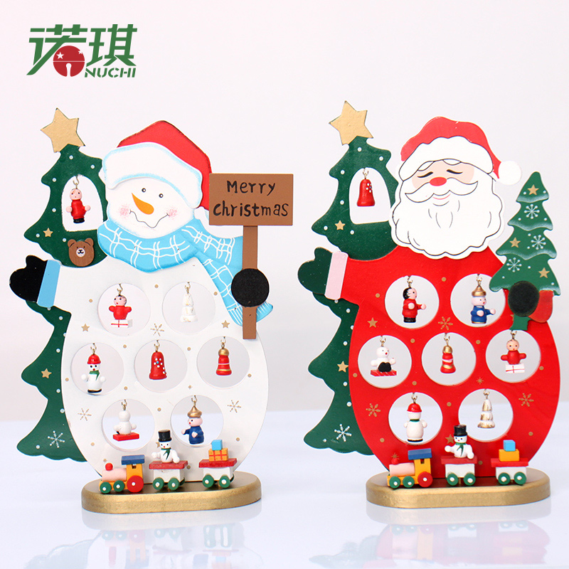 Creative wooden christmas decorations santa claus christmas snowman nuoqi mini desktop window decorations