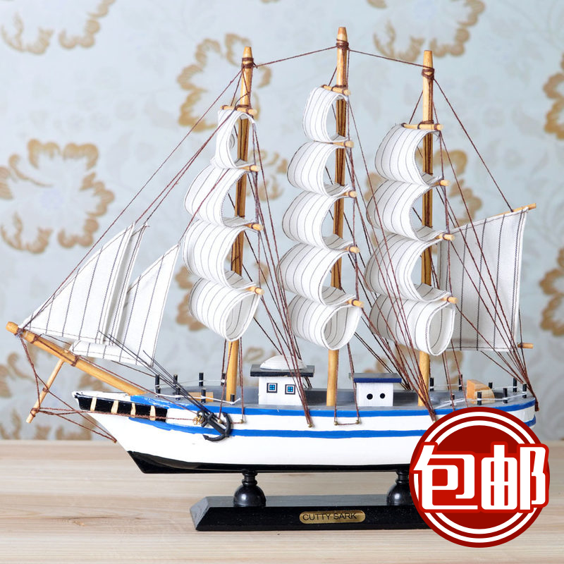 Creative wooden model sailing smooth sailing ship ornaments mediterranean decor product imitation really furniture decoration crafts