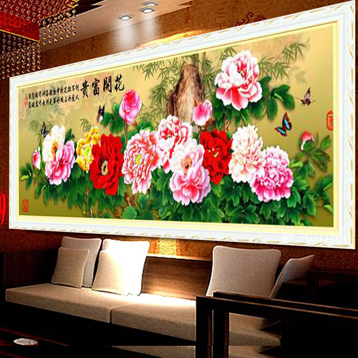Cross stitch free shipping 3d5d dimensional painting blossoming peony flowers rich new living room painting 1.5 m