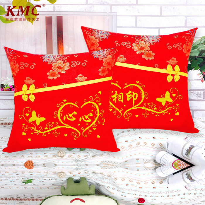 Cross stitch pillow one pair of pillow free shipping free postage printing wedding gifts soulmate special series containing pillow