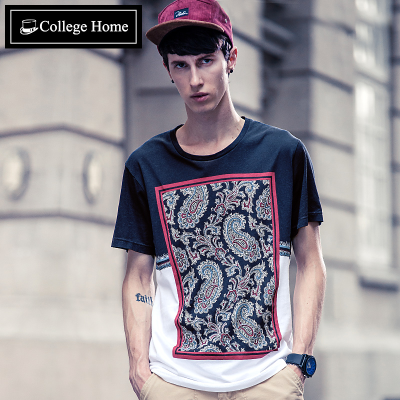 Crowe family collegehome tide brand ethnic wind printed pattern men short sleeve t-shirt male korean influx of men slim