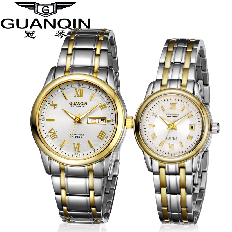 Crown piano authentic watches couple tables on the table luminous waterproof automatic mechanical watch steel belt business men watch men and women