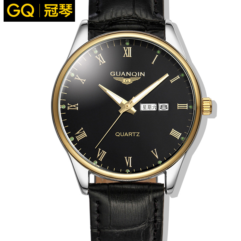 Crown piano authentic watches men quartz watch waterproof genuine leather belt male table double calendar night light business watch men